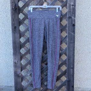 PINK Yoga  grey leggings with pink stripes